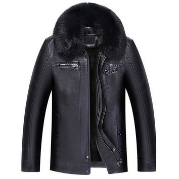 Winter Thick Warm Men Coat Fur Collar