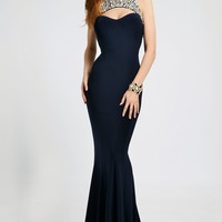 Halter fitted long prom gown 98048 - Prom Dresses
