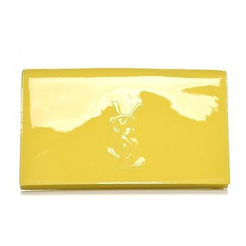 Saint Laurent YSL Classic Belle de Jour Ysl  Yellow Patent Leather Clutch 361120