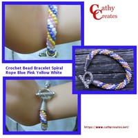 Crochet Bead Bracelet Spiral Rope Blue Pink Yellow White | cathycreates.net