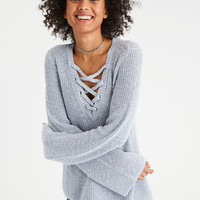AE Chunky Lace-Up Pullover, Light Blue