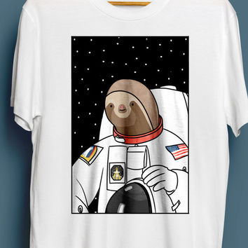 Slothstronaut, Unisex Sloth T-Shirt - Cute T-shirt, Illustrated Tshirt, Gift For Him, Her, Funny Tshirt, Animal Tshirt, Space, S M L XL XXL