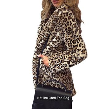 Leopard Print Faux Fur Mid-Length Coat Vintage Animal Leopard Print Faux Fur Jacket Coats Fashionable Outwear XS-3XL