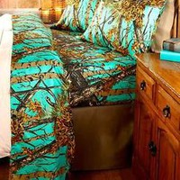 The Woods 3-Pc Teal Camouflage Twin Sheet Set Camo Hunter Bed Bedroom Home Decor