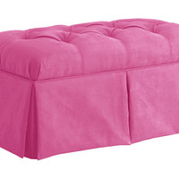 "Olivia 36"" Tuft Storage Bench, Hot Pink, Bedroom Bench"