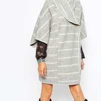 Free People Poncho Coat in Stripe at asos.com