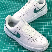 Nike Air Force 1 Low Af1 White Sport Shoes Blue Logo - Best Online Sale