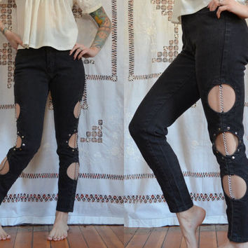 Vintage Cut Out Chained Up Metal Head Jeans