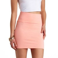 Solid Bodycon Mini Skirt by Charlotte Russe - Hot Pink