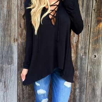 Black V-Neck Criss Cross Hooded T-Shirt