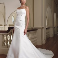 rumpet / Mermaid Strapless Ruffles Sleeveless Court Trains Satin Wedding Dresses YSP0072 | $122.87 | Maryswill.com.