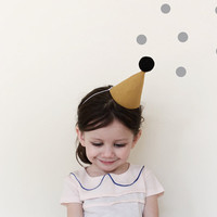 Party Hat - linen party hat in mustard (small)