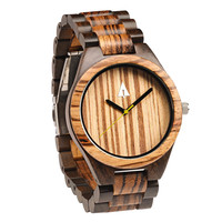 All Wood Watch // Zebrawood + Ebony 47 Gold