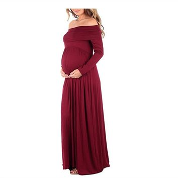 New Sexy Solid Long Sleeve Maternity Dress For Photo Shoot Maxi Maternity Photography Props Gown Clothes Pregnant Women Vestidos