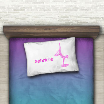 Gymnastics Pillow Case for Kids, Gymnastics Gift, Personalized Pillow Case, Travel Pillow Case, Pillow Cases Handmade, Pillow Cases Standard