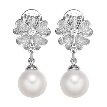 Gorgeous Magical Blooming Lotus Flower Amulet Silver-Tone Simulated Pearls Crystals Earrings