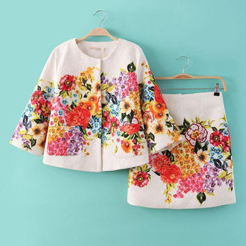 White Floral Print Bell Sleeve and Pencil Mini Skirt