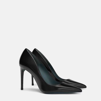 HIGH HEEL LEATHER COURT SHOES DETAILS