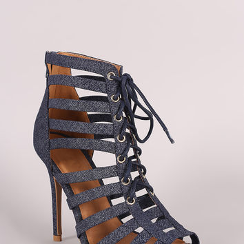 Qupid Strappy Caged Open Toe Heel