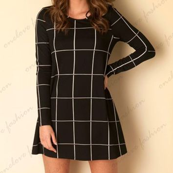Black Striped Long-Sleeved Dress