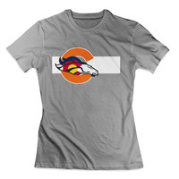 Denver Broncos Colorado Flag logo Clothing T shirt Women