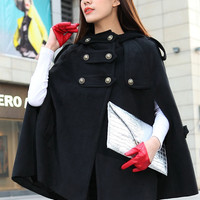 Double Breasted Hooded Cape Black Winter Coat Women Cape Coats Sleeveless Wool Hooded Coat Cute Cloak-WH017 M,L