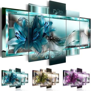 ( No Frame ) Canvas Print Modern Abstract Flower Floral Art Painting Home Decoration Gift for Love, Choose Color & Size