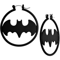 Black Matte Logo Batman Hoop Earrings | Body Candy Body Jewelry