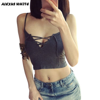 Crop Tops Women 2017 Summer New Womans Short Bralette Low Cut Tanks Top Bandage