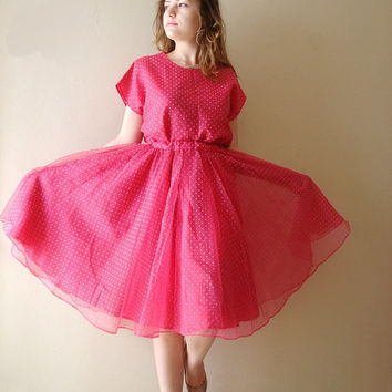 50s style Pink polka dot blouse and  skirt  Full Skirt Party Dress