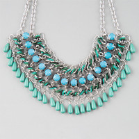 Full Tilt Cord/Rhinestone Statement Necklace Turquoise One Size For Women 25145024101
