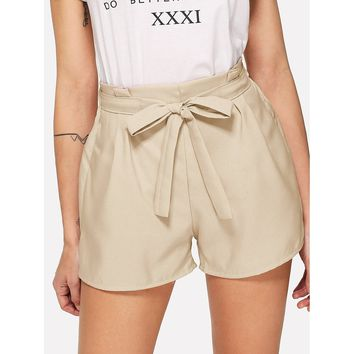Self Tie Waist Solid Shorts Apricot
