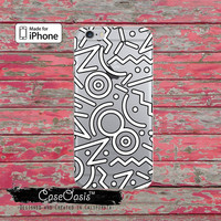 White Black Line Pattern Retro 90's And 80's Clear Rubber Phone Case For iPhone 6, iPhone 6 Plus +, iPhone 5/5s, iPhone 5c Transparent Case