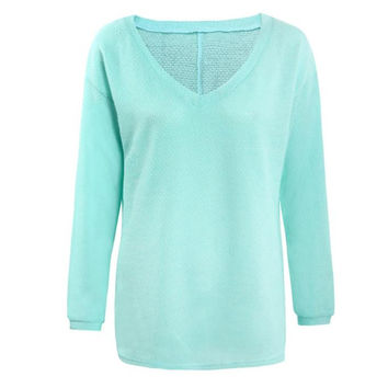 Women Knitted Tops Sexy Casual Loose Long-sleeve V-Neck Shirt Street Pullover Female Sweaters INY66