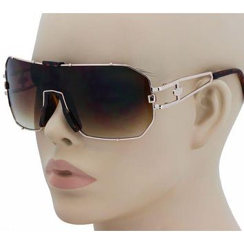 Men's Oversized Vintage Retro Shield Style SUN GLASSES Gold Frame Brown Lens New