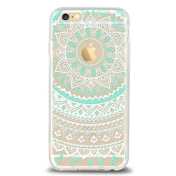 DCCKRQ5 iPhone 6 6s Case,by Ailun,Solid Acrylic Back&Reinforced Soft TPU Frame,Ultra-Slim,Shock-Absorption Bumper,Anti-Scratch&Fingerprint&Oil Stain Back Cover[Mandala MintGreen]