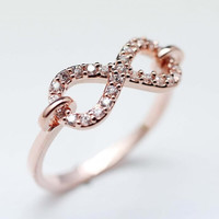 Linked Infinity Ring with Tiny cubic zirconia stones Pink Gold