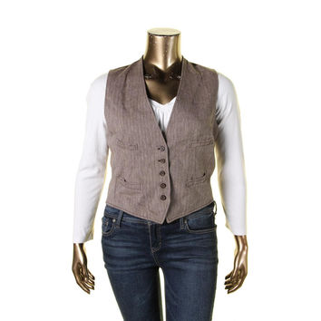 Denim & Supply Ralph Lauren Womens Tweed Herringbone Casual Vest
