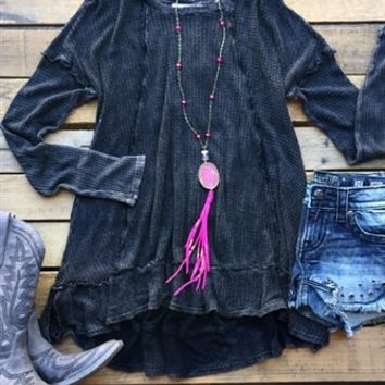 Our Take A Little Ride Top - Dark Grey is too precious! It's an oversized long sleeve knit top with seam detail. Super comfy and made to be loose fitting.