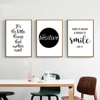 Black White Motivational Life Quote Canvas Art Posters Canvas Prints Nordic Painting Wall Pictures for Living Room Home Decor