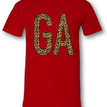 Sassy Frass Georgia State GA Leopard V-Neck Canvas Girlie Bright T Shirt