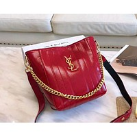 YSL 2019 new burst crack female paragraph shoulder bag bucket bag red