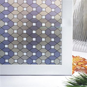 45*100cm opaque self-adhesive frosted stained glass window film decorative home privacy glass sticker diamond check ST033