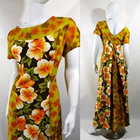 Vintage 60s Hawaiian Dress / Maxi Dress / Hawaiian Muu Muu / Watteau Train / Ui-Maikai