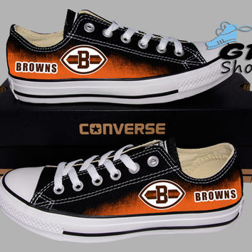 Hand Painted Converse Lo. Cleveland Browns. Ohio State. Football. Handpainted shoes