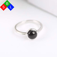 Fashion Vintage 925 Sterling Silver Rings With Stones Black Agate Real Fine Jewelry