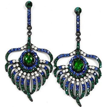 Peacock Feather Crystal Drop Earrings