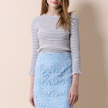 Essential Pleated Top in Stripes