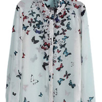 ROMWE Asymmetric Butterfly Print Long Sleeves White Shirt