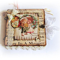 Wood Christmas Journal Fairy Tale Journal Vintage Christmas Notebook Shabby Chic Journal Winter Journal Santa Claus Album Xmas Gift